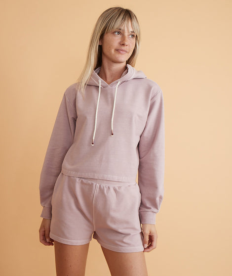 Tate Crop Hoodie in Burnished Lavender