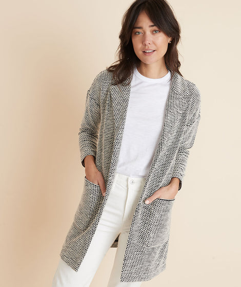 Birdseye Collared Cardigan in Black/White Contrast