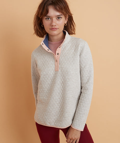 Corbet Reversible Pullover in Eclipse/Rainbow Heather