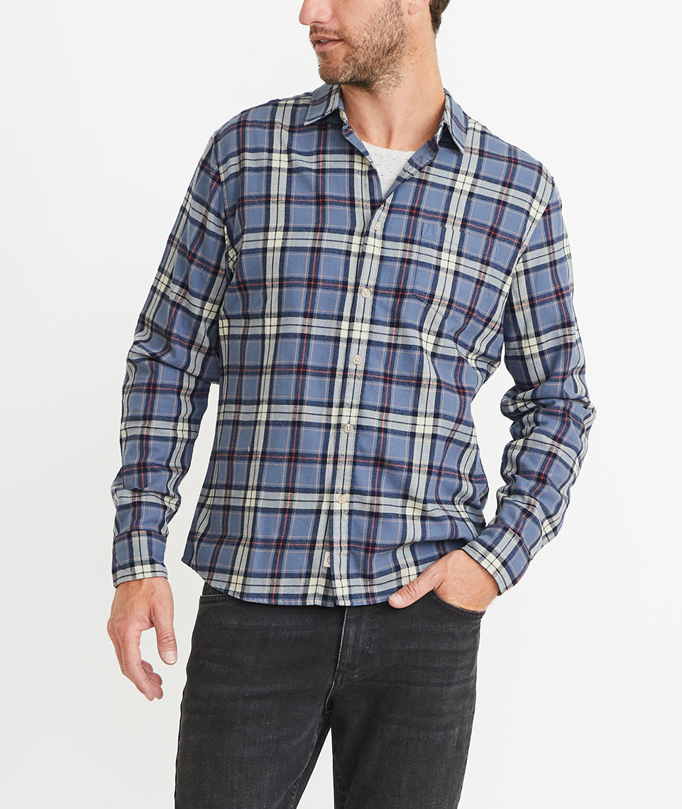 Handsome Jack Button Down in Faded Navy Plaid