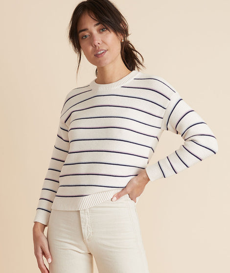 Nina Crewneck Sweater in Oatmeal Multi Stripe