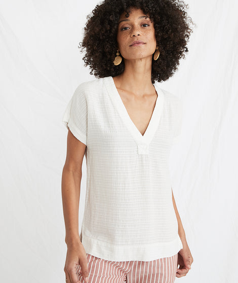 Bali Tunic in White Shadow Stripe