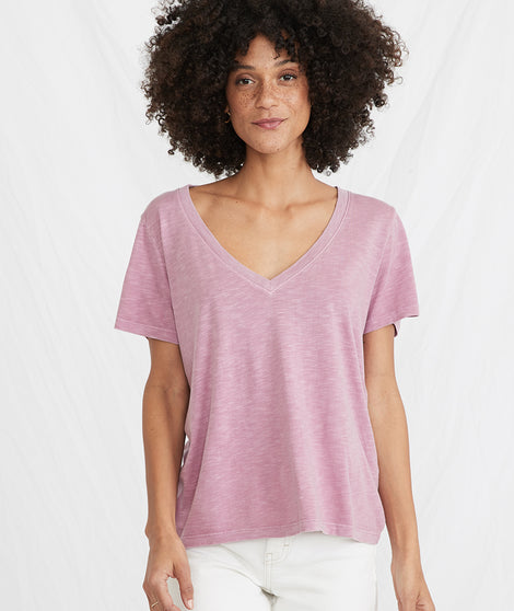 Boyfriend V-Neck in Heather Rose