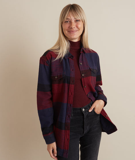 Riley Overshirt in Navy/Berry Plaid