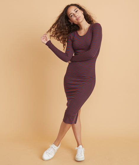 Lexi Longsleeve Midi Dress in Eclipse/Auburn