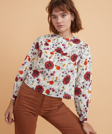 Willow Ruffle Top in Wildflower Print