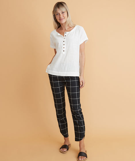 Allison Pant in Black Windowpane