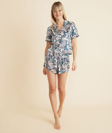 Washable Silk Short in Pearl Tropical Floral Print
