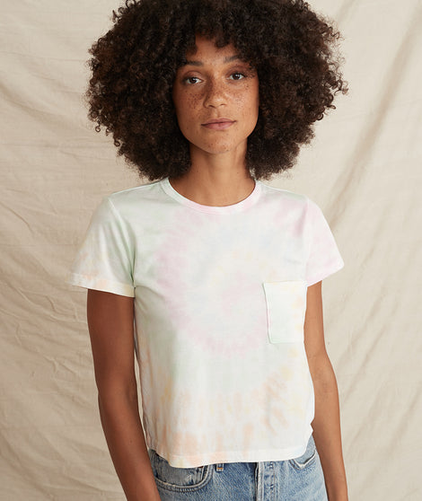crop pocket tee in tie dye