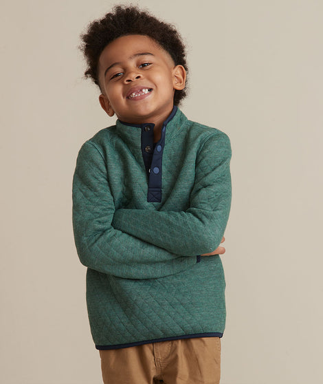 Mini Corbet Reversible Pullover in Mid Blue Heather/Pine Needle Heather