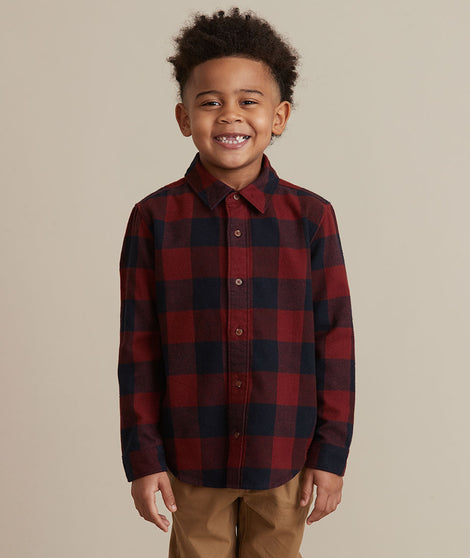Mini Balboa Plaid Shirt in Red Buffalo