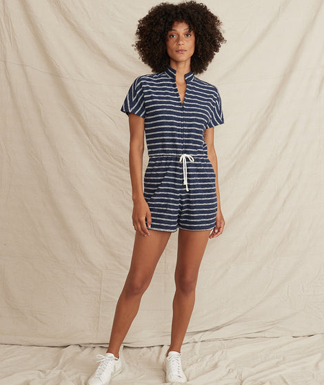 Terry Out Romper in Navy/White Stripe