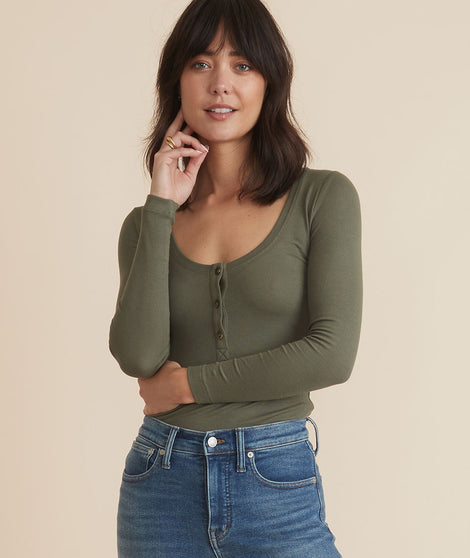 Lexi Rib Henley in Dusty Olive
