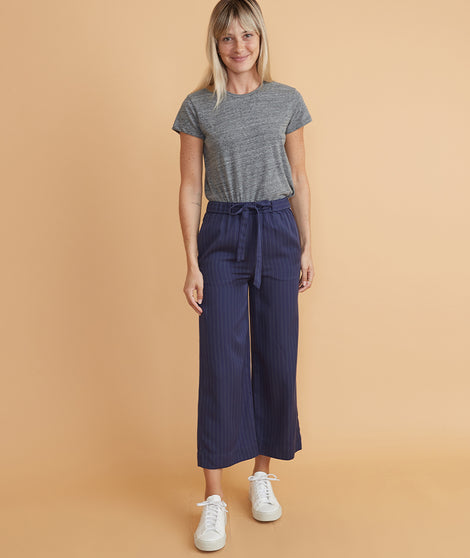 Aly Wide Leg Pant in Navy Stripe
