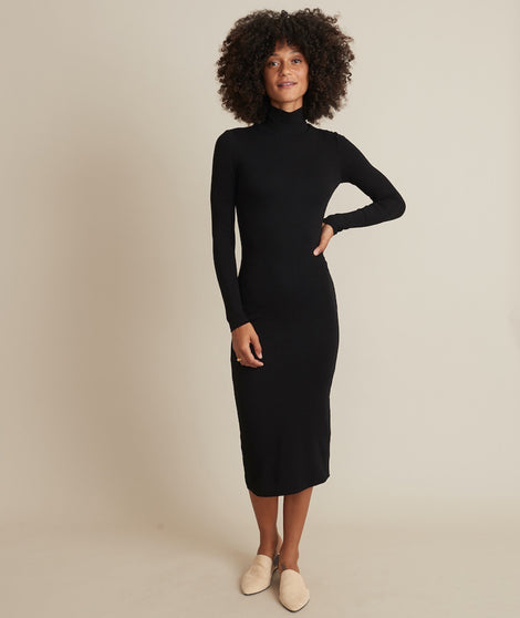 Lexi Turtleneck Midi Dress in Black