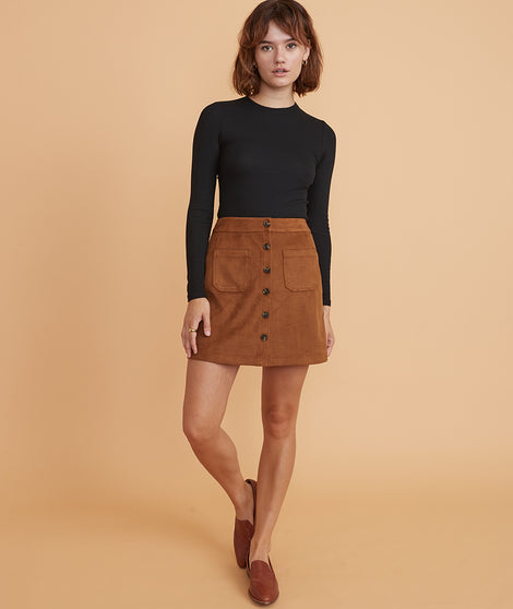 Myra Button Front Mini Skirt in Tortoise Shell