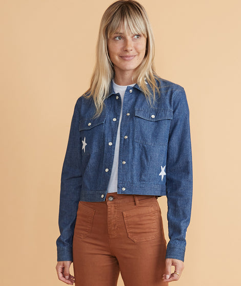 Embroidered Crop Denim Jacket in Medium Indigo