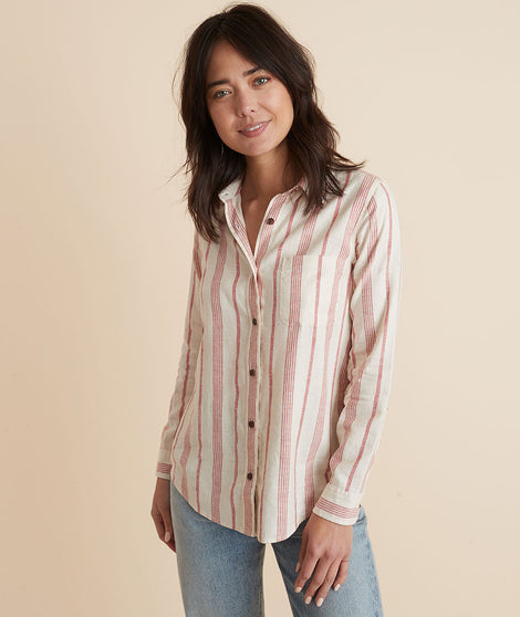 Clara Relaxed Shirt in Red/White Stripe