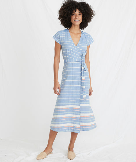 Maddie Wrap Dress in Blue/White Stripe