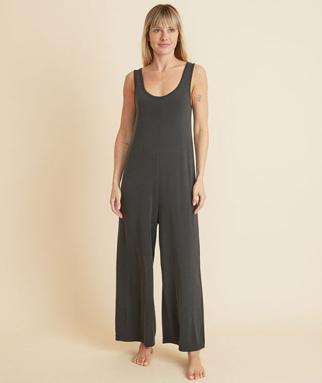 Luxe Rib Jumpsuit in Faded Black