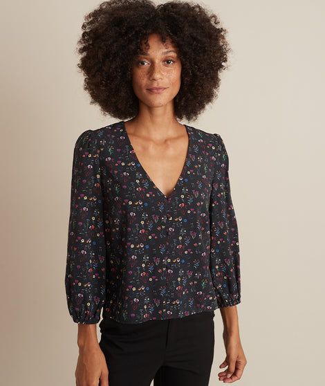 Stacy Button Down in Black Floral Print