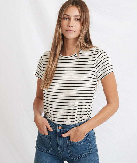 Classic Crew in Black/White Stripe