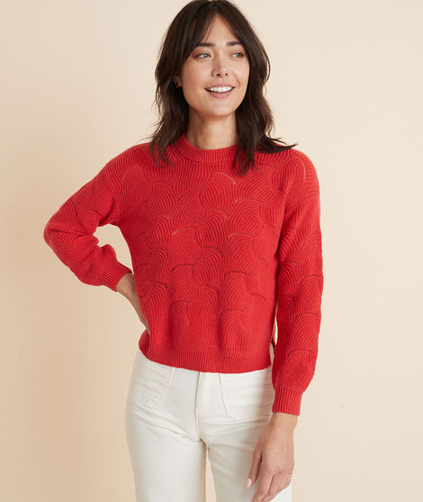 Olivia Crewneck Sweater in Ruby Red