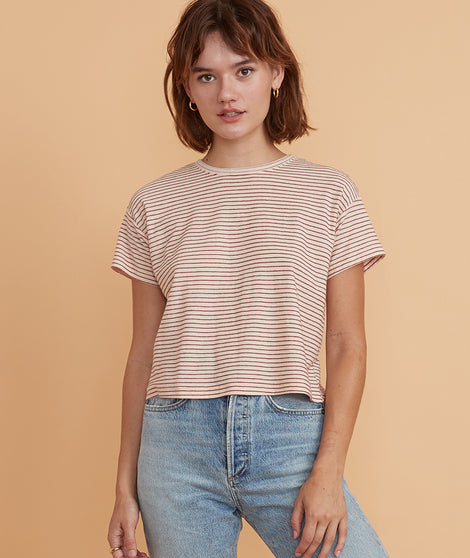 Lydia Textured Stripe Top in Pale Blush/Burgundy