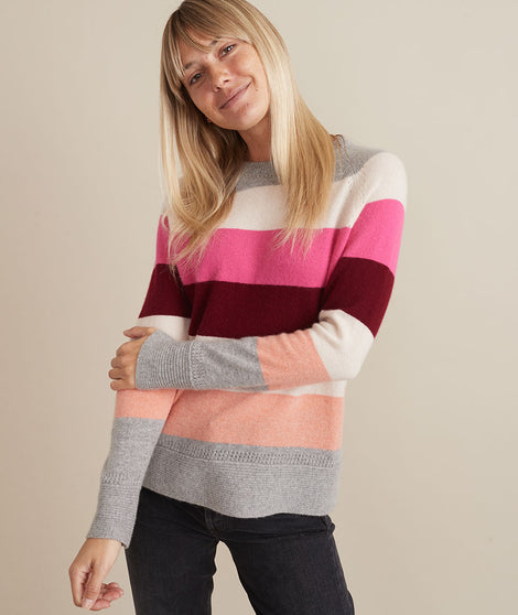 Maya Cashmere Swing Sweater in Heather Grey/Multi Stripe
