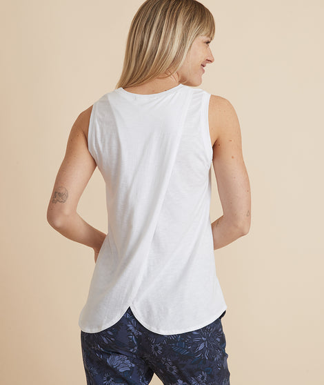 Tulip Back Tank in White