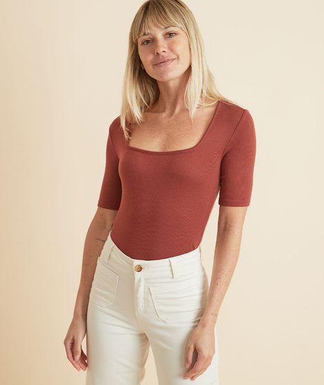 Lexi Rib Square Neck Top in Baked Clay