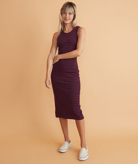 Lexi Rib Daytime Midi Dress in Cabernet/Navy Stripe