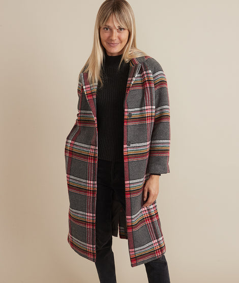 Aspen Coat in Rainbow Plaid