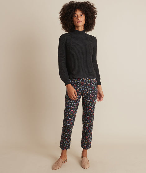 Allison Trouser in Black Floral Print