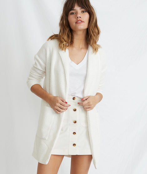 Birdseye Collared Cardigan in White
