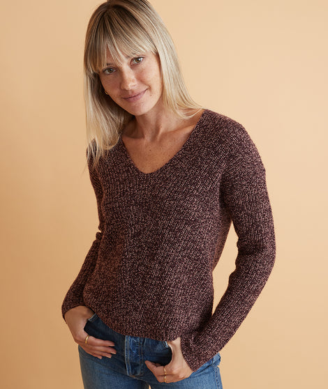 Elisa V-Neck Sweater in Cabernet Swirl