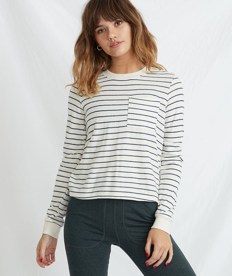 Double Knit Crew in Natural/Navy Stripe