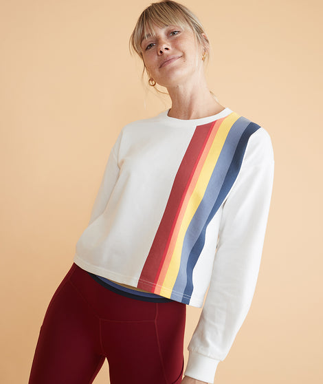 Tate Crop Sweatshirt in White Multi Stripe