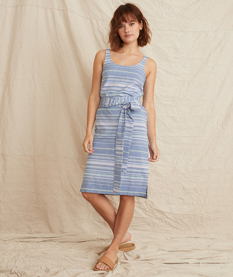 Brea Tie Front Dress in Blue Multi Stripe