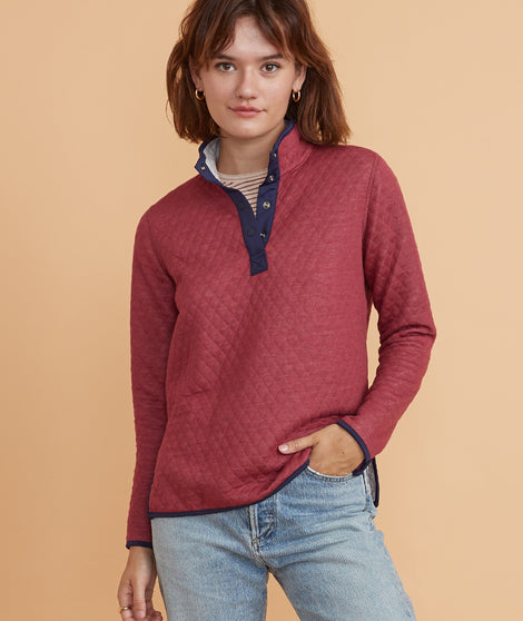 Corbet Reversible Pullover in Cabernet/Light Heather Grey