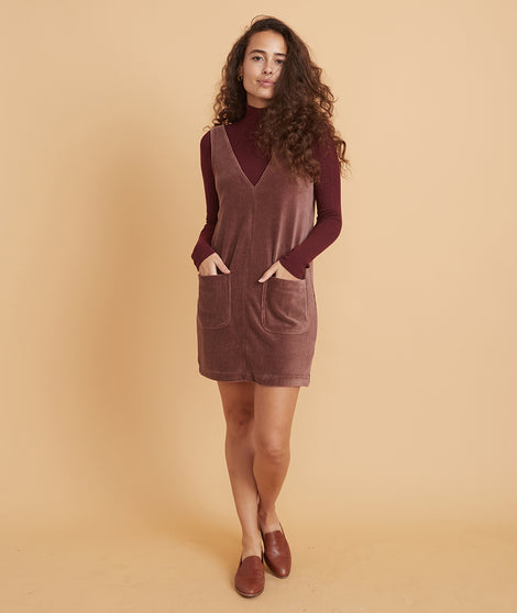 Mille Shift Dress in Deep Mahogany