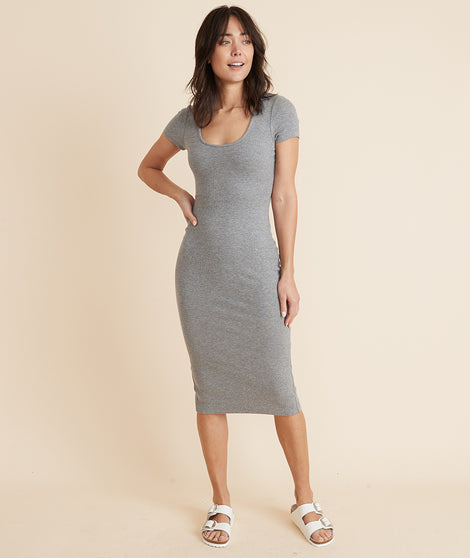 Lexi Rib Short Sleeve Midi Dress in Heather Grey