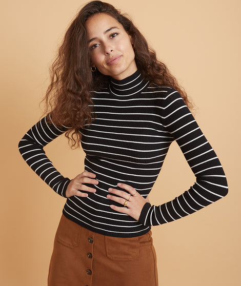 Chamonix Ribbed Turtleneck Sweater in Black/White Stripe