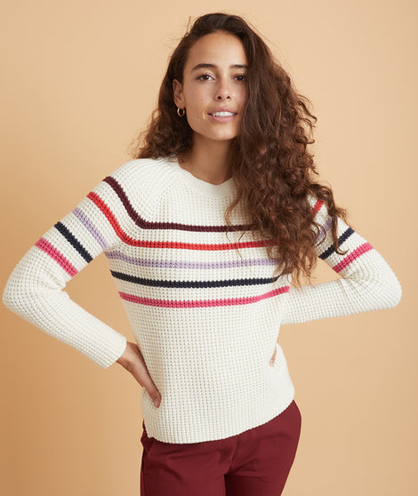 Delaney Raglan Sweater in Cream/Multi Stripe