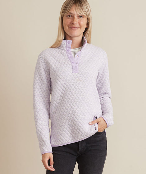 Corbet Reversible Pullover in Mid Heather Grey/Lavender
