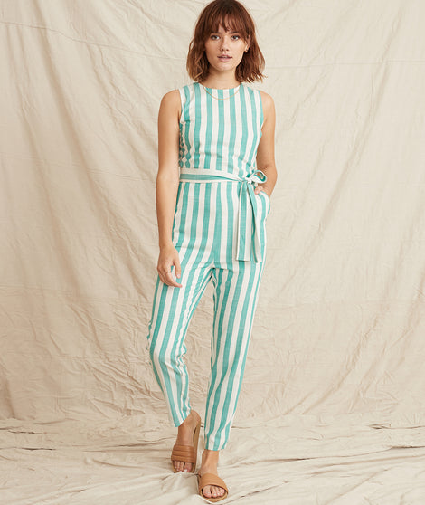 Eloise Jumpsuit in Green Lake/White Stripe