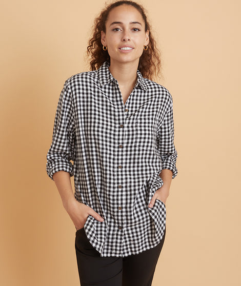 Boyfriend Button Down in Black/White Gingham
