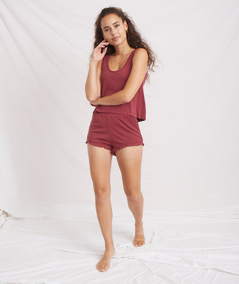 Luxe Rib Ruffle Short in Cabernet