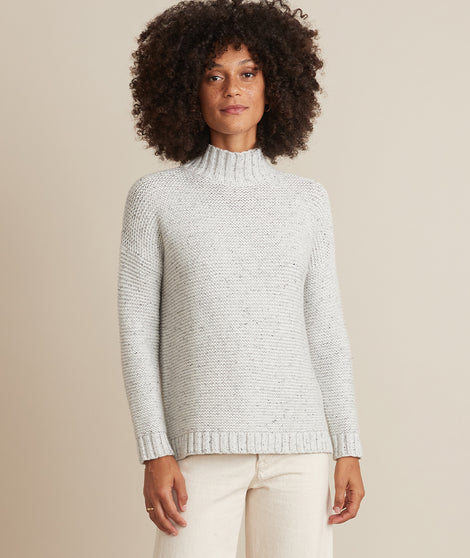 Remi Turtleneck Sweater in Light Heather Grey Neps