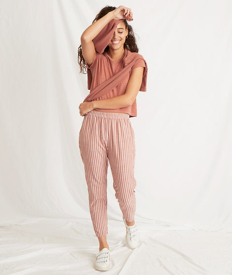 Monica Pant in Baked Clay/White Stripe